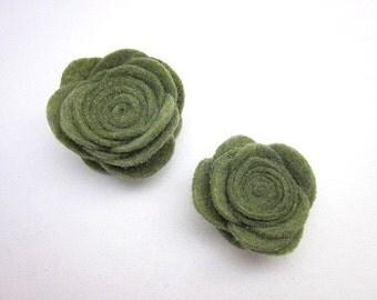 Green Flower Brooch -- Olive Flower -- Olive Flower Accessory -- Olive Pin -- Olive Green Clip -- Olive Brooch -- Olive Green Pin --Felt Pin