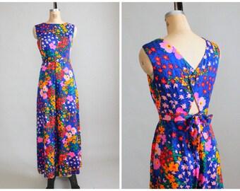 SALE!  Vintage 1960s Jumpsuit : 60s Floral MOD Palazzo Pants Jumsuit