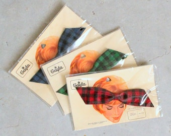 Vintage 1960s Hair Clip : 60s Plaid Fabric Hair Barette NOS