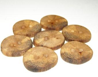 """7 Handmade  oak wood buttons, accessories ( 1,18"""" diameter x 0,20"""" thick)"""