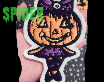 Jackie Lantern TM Embroidered Iron on Patch Halloween Spooky Cutie Pumpkin Girl Patch Patches Creepy Cute