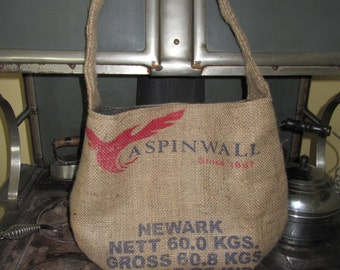 Aspin Wall Coffee Importers Durlap Bag Purse Tote