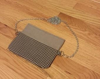 Two-Tone Gray and Black/White Houndstooth Crossbody Handbag