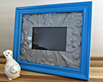 Painted Picture Frame - Blue and Silver - Upcycled, Metal, Wood, Beach, Boho, Bohemian Home Decor