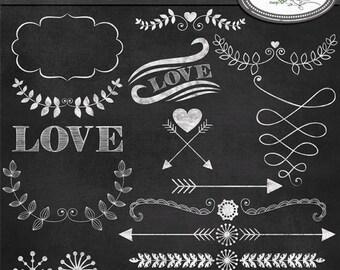 Laurel, hearts and arrows clip art chalkboard style, chalkboard clip arts, arrow clip art, hipster clip art, C150