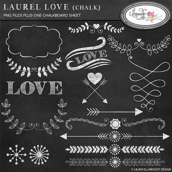 Laurel Hearts And Arrows Clip Art Chalkboard Style