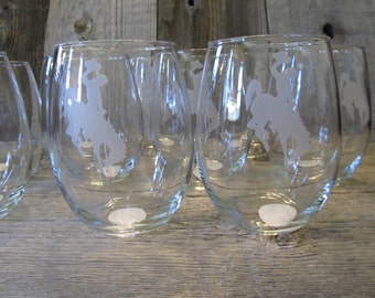 Pair of Wyoming Cowboys,15 ounce Stemless Wine Glasses - Ready to ship today