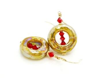 Gold Red Earrings, Donut Earrings, Lampwork Earrings, Boro Glass Earrings, Unique Earrings, Glass Art Earrings, Beadwork Earrings