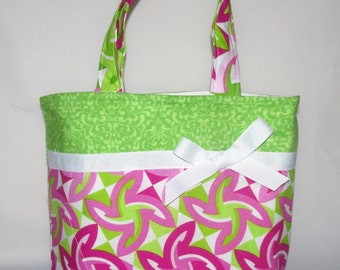 Green, Pink Swirl Purse ~ Shoulder Bag ~ Purse Small Tote Bag ~Small Purse ~ T ote ~ Girls purse!