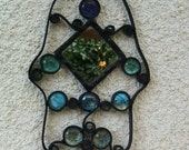 Hamsa with mirror Stained Glass Judaica Art Evil Eye Protection Wall Home Decor Made in Israel Free Shipping!!
