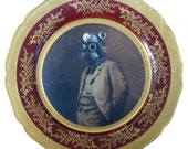 "Dr. SteamPunk Portrait - Altered Vintage Plate 10.75"""