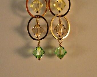 Cascading Crystal Hoop earrings,swarovski crystal earrings,hoop earrings,dangle earrings,drop earrings,gold earrings,crystal hoops,hoops