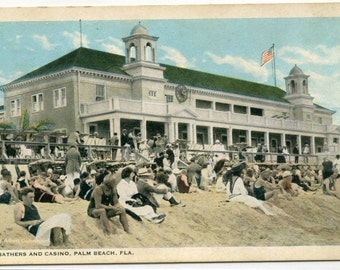 Bathing Beach Bathers Casino Palm Beach Florida 1920s postcard