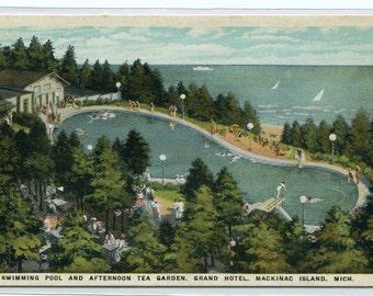 Swimming Pool Tea Garden Grand Hotel Mackinac Island Michigan postcard
