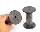 2 Vintage Bobbins - Spools -  Decorate and store your twines and ribbons with style - Use for photoshoots - Black Bobbins