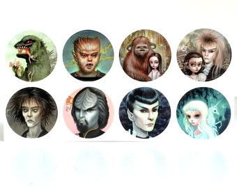Geek Pack Stickers Set - 8 Star Trek, Labyrinth, Last Unicorn, Godzilla, Wolfman, Sandman, Spock sticker seals by Mab Graves