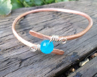 Large Copper And Sterling Silver Bangle Bracelet With Faceted Aqua Quartz