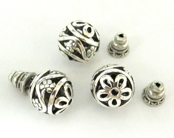 3 SETS - Tibetan silver 2 hole round Guru bead 14 mm size with cone shape column bead - BD0600C