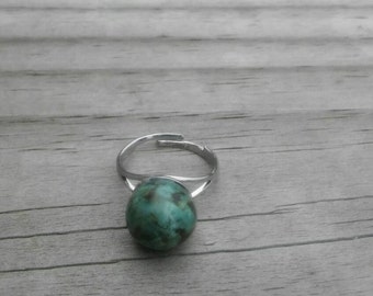 African Turquoise Sphere Adjustable Ring