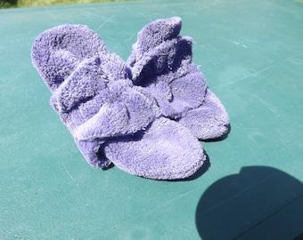 Plush Purple Minky Baby Booties