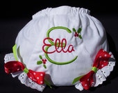 Girls' Personalized Christmas Diaper Cover