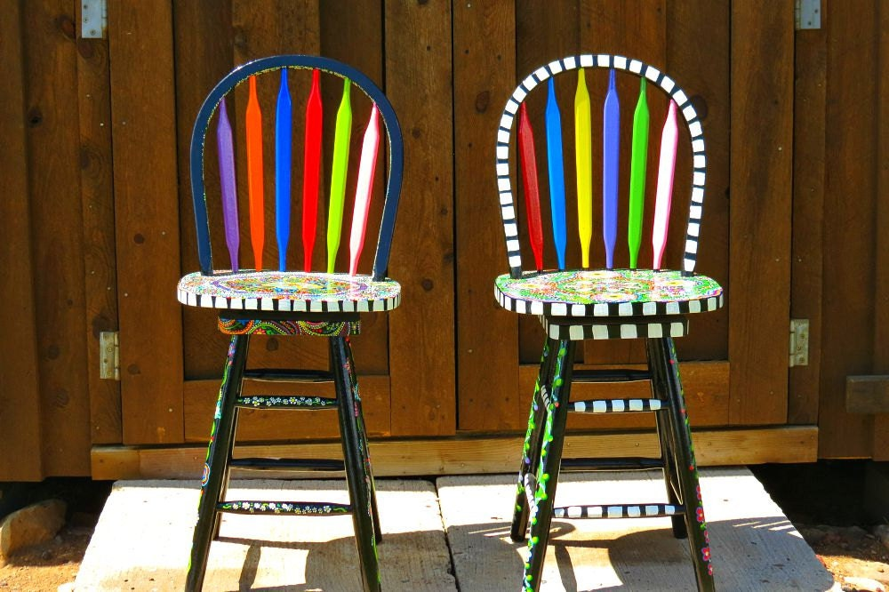 Funky hand painted bar stools funky furniture dot art for Funky furniture