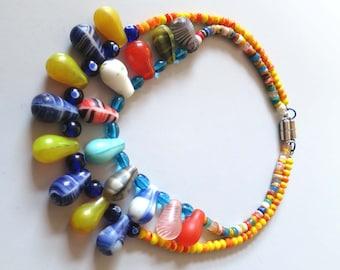 "2 Vintage African teardrop, Czech glass ""wedding beads"" necklaces"