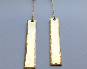 Vertical Dangle Gold Drop Earrings 14k Gold Filled For Her