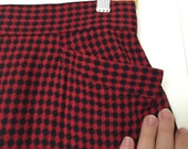 Houndstooth Plaid Pencil A-Line Skirt Red and Black 1950 Alice of California