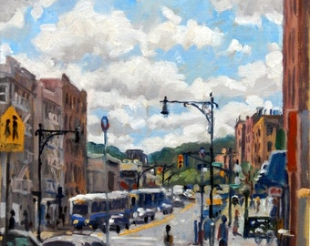 Last Stop A Train, Inwood, NYC. New York City Oil Painting, 12x12 Oil on Canvas, Impressionist Plein Air Cityscape, Signed Original Fine Art