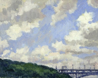 Oil Painting Landscape, Summer Clouds, Inwood, New York City. Small Plein Air NYC Impressionist Oil on Panel, 6x8 Signed Original Fine Art