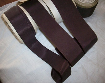 Vintage grosgrain ribbon in blood wine rayon cotton 1920s to 30s