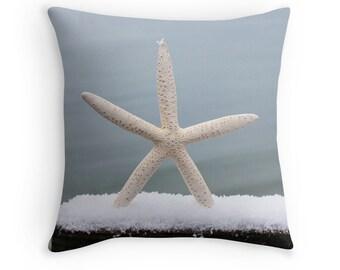 Beach Theme Pillow Cover- Winter Starfish, Beach Photo Pillowcase, light blue throw pillow case, coastal photo art, ocean theme, beach decor