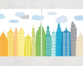 Bright Modern Cityscape Art Print Set