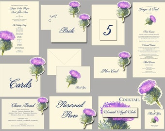 Thistle Purple flower Wedding Paper goods decorations place cards table numbers menus programs