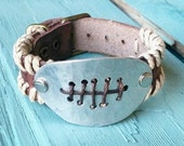 Hammeredl FOOTBALL on Woven Leather Cuff Bracelet 109o Boho Inspired Look
