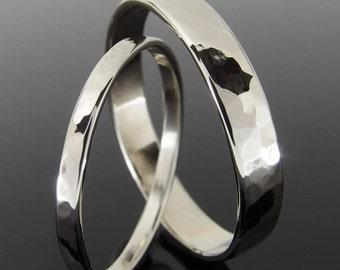 Hammered 14k White Gold Wedding Ring Set, White Gold Wedding Band Set, White Gold Wedding Set, 4 x 1 mm and 2 x 1 mm