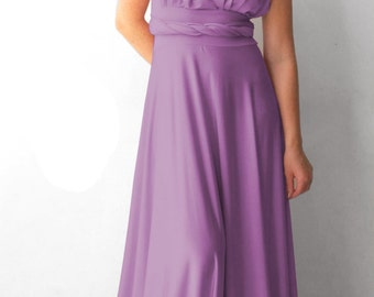 Convertible/Infinity Dress - lavander  color  floor length with long straps Multiway Dress