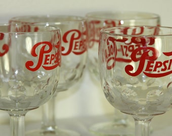 Pepsi Thumbprint Goblets Vintage 1960s Pepsi-Cola Clear Glass Logo Heavy Duty Red Logo Advertising Vintage Glasses COOL set of 4