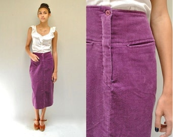 Corduroy Skirt  //  80s Pencil Skirt  //   MAGENTA LOVER