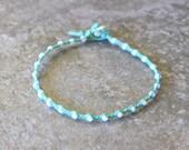 Sea Foam Green and White Single Wrap Bracelet Perfect Beach Jewelry