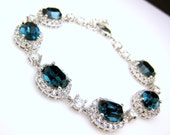 bridesmaid jewelry bracelet bridal wedding bracelet christmas party gift swarovski rhinestone oval montana navy blue cubic zirconia bracelet