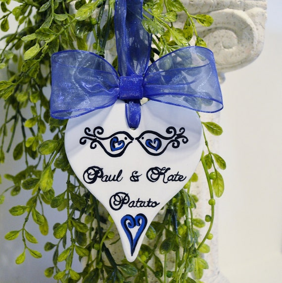 Hand Painted, Personalized Love Birds Couple Ornament