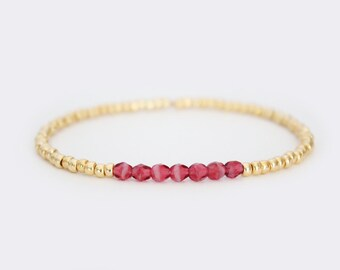 Raspberry and Gold Beaded Bracelet - Navi - SALE