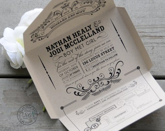 Self-mailing kraft wedding invitation: Open Me Softly / Earth-friendly, seal and send / Quirky & whimscial, vintage chic [DEPOSIT]