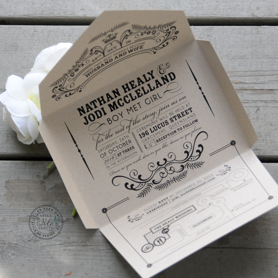 Recycled Wedding Invitations: Self-mailing Kraft Wedding Invitation: Open Me Softly