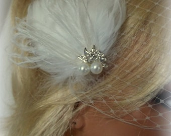 Fascinator,  Wedding Fascinator, Bridal Hair Clip, Feather Fascinator,Bridal Fascinator Wedding Hair Clip, Bridal Fascinator,