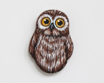 Baby Owl Pin - Owlet Brooch - Brown White Owl Jewelry - Owl Fashion Accessory - Handmade Handpainted Wooden Owl Brooch - Bird Jewelry Pin