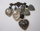 vintage charm brooch - HEARTS - heart dangle brooch, bird charm, sweet, romance, U.R. My Sweet