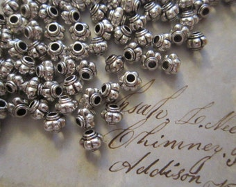 50 metal beads - silver tone - 5mm spacer beads